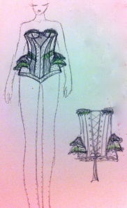 fashion design tegning mote korsett